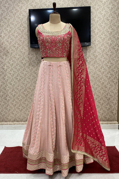 Peach and Rani Pink Lucknowi, Mirror and Zardosi work Crop Top Lehenga - View 1