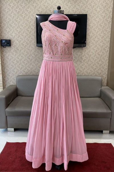 Baby Pink Mirror and Sequins work Floor Length Anarkali Suit - 1