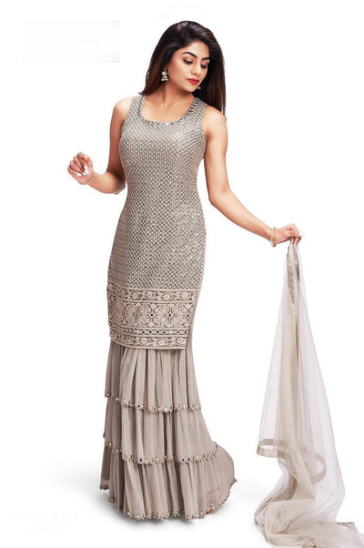 Grey Sequins and Thread work Sharara Suit Set - SeasonsChennai