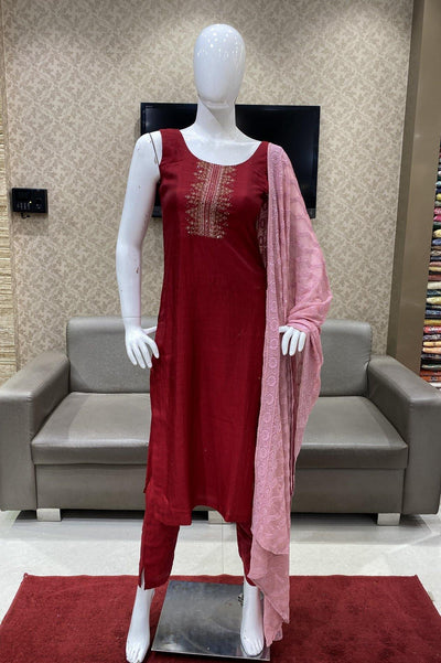 Maroon Art Silk Straight Cut Salwar Suit - 1