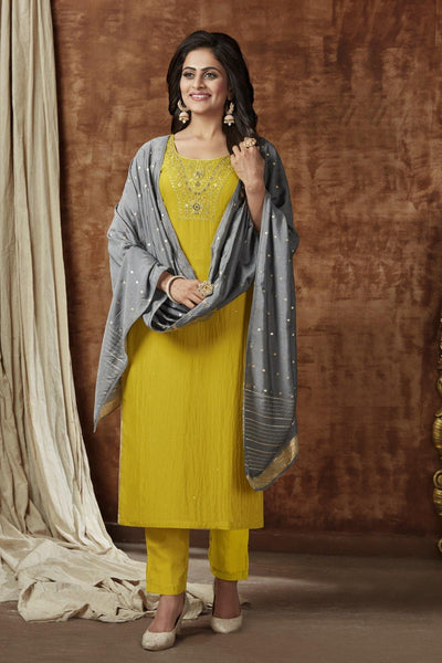 Lemon Yellow Silver Zari Thread work Straight Cut Salwar Suit - 1