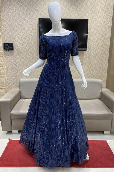 Royal Blue Sequins Embellished Cocktail and Bridal Gown - 1