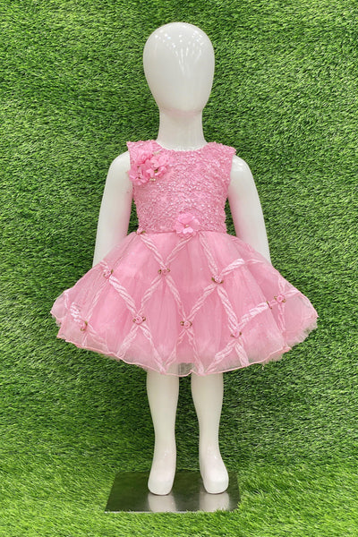 Pink Embroidery Work Short Party Frock For Girls 1
