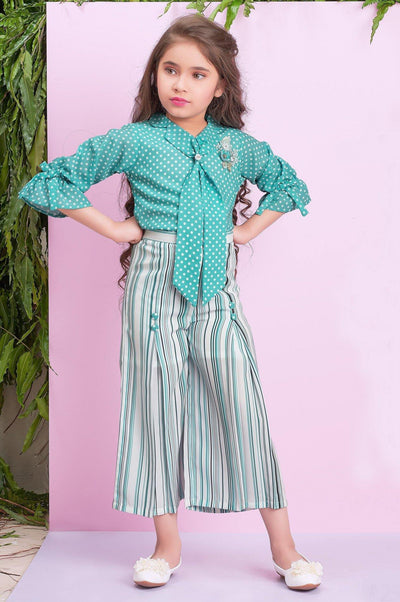 Peacock Green Polka dot and Stripe Culotte Set for Girls - 1