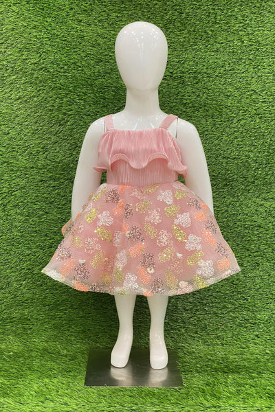 Pink Sequins Work Short Party Frock For Girls 2 1