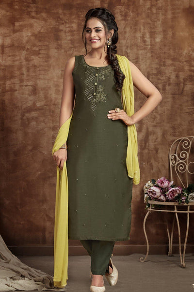 Dark Mehendi Green Thread work Straight Cut Salwar Suit - 1
