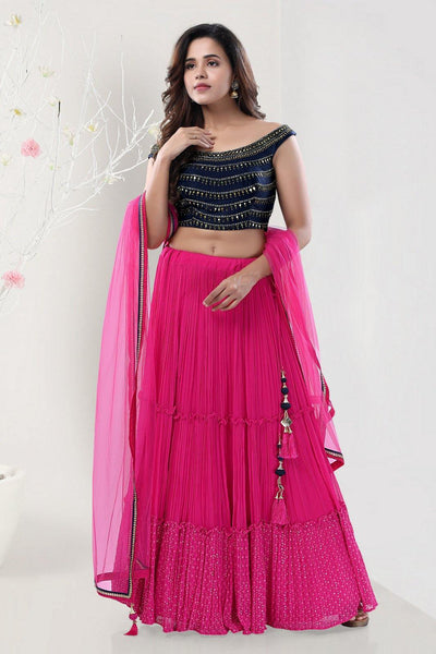 Pink and Navy Blue Mirrorwork Boat Neck Crop Top Lehenga - View 1