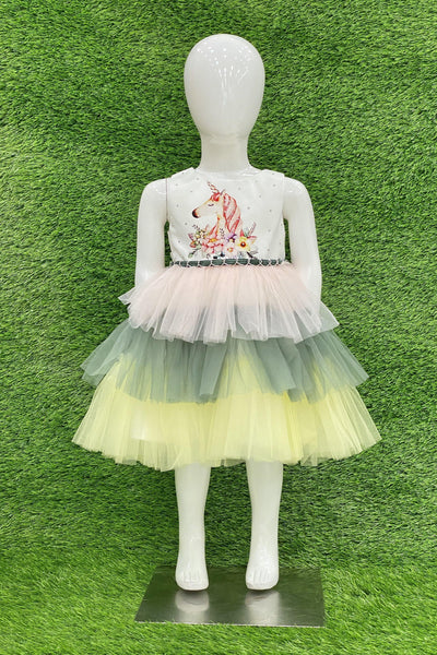 Unicorn Multicolor Digital Print Short Party Frock For Girls 2 1