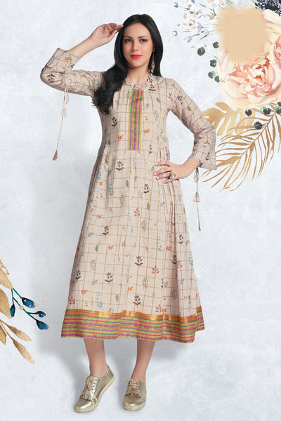 Beige Anarkali Long Kurti with Floral Print - 1