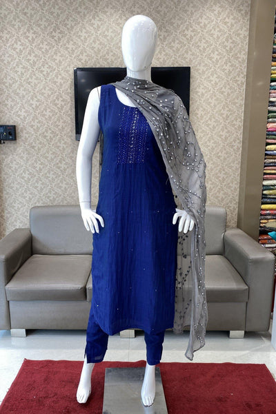 Dark Blue Art Silk Straight Cut Salwar Suit - 1