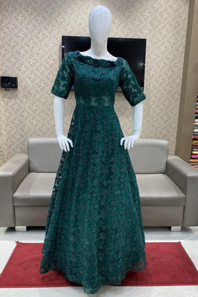 Peacock Green Sequins Embellished Cocktail and Bridal Gown - 1