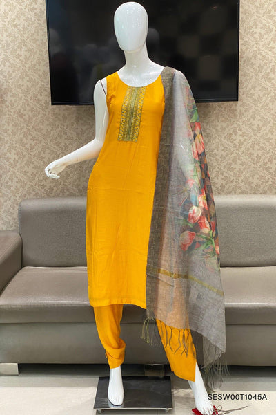 Yellow Sequins Work Straight Cut Salwar Suit - View1