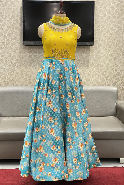 Mustard with Blue Zardosi Work Floor Length Anarkali Suit - 1