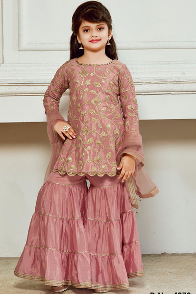 Onion Pink Foil Embroidered Girls Sharara Suit Set