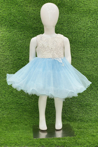 Blue And White Lace Work Short Party Frock For Girls 1
