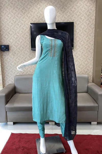 Teal Blue Art Silk Straight Cut Salwar Suit - 1