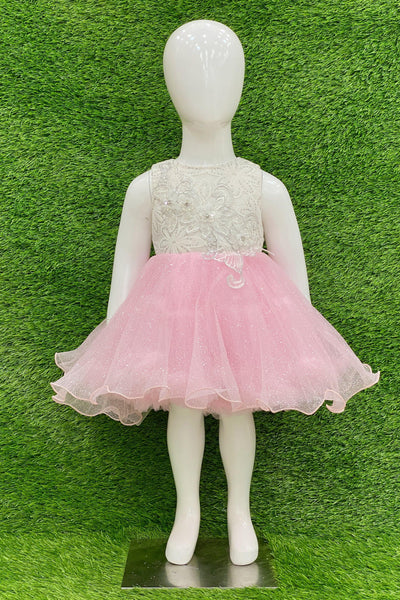 Pink And White Lace Work Short Party Frock For Girls 1