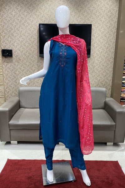 Peacock Blue Minimal Threadwork Straight Cut Salwar Suit - 1