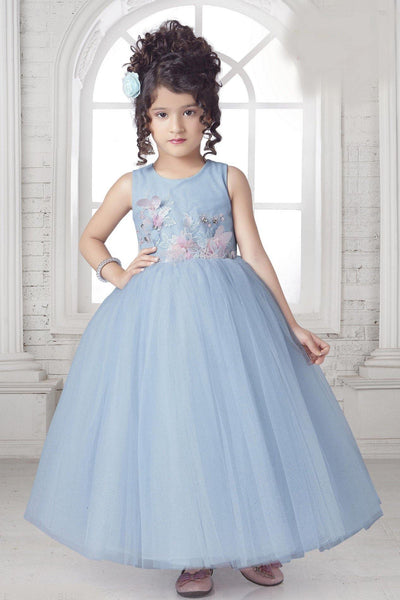 Light Blue Glitter and Embroidery work Long Party Gown for Girls - 1