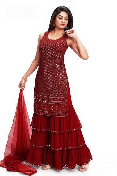 Maroon Sequins and Thread work Sharara Suit Set - SeasonsChennai