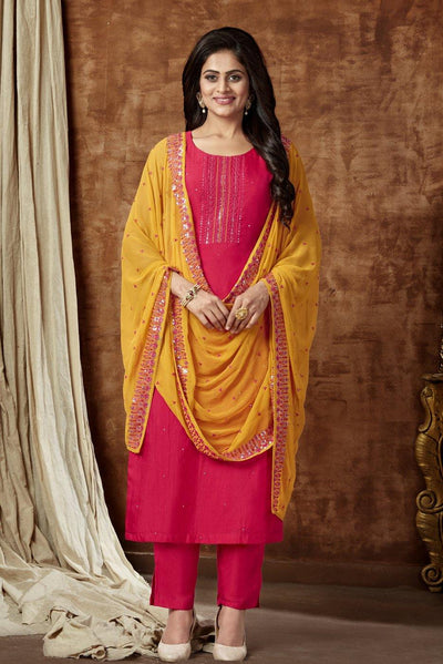 Rani Pink with Yellow Dupatta Thread work Straight Cut Salwar Suit - 1