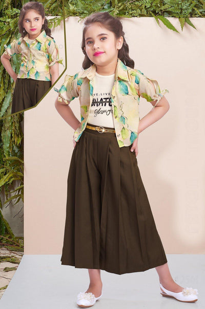 Mehendi Green and Multi Color Overcoat with Culottes for Girls - 1