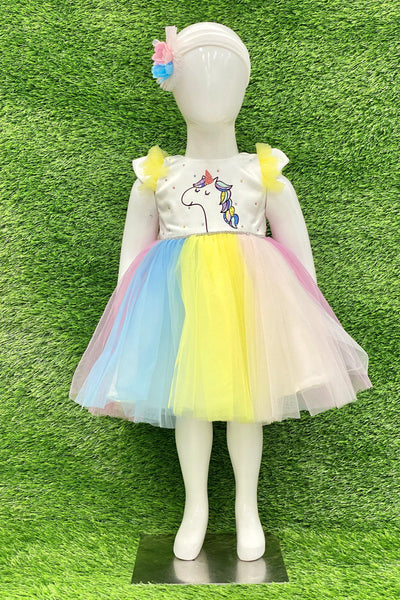 Unicorn Multicolor Digital Print Work Short Party Frock For Girls 1