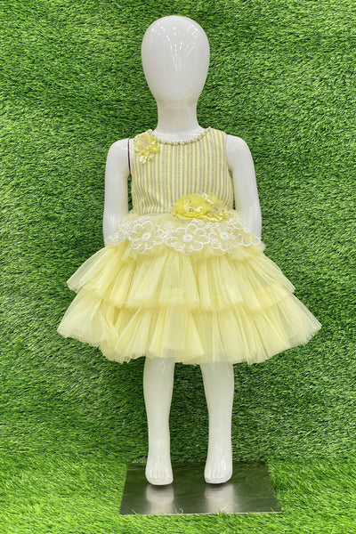 Yellow Thread Work Short Party Frock For Girls 1