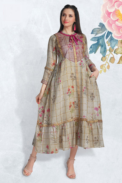 Grey and Pink Chanderi Anarkali Long Kurti with Floral Prints - 1
