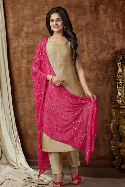 Gold with Rani Pink Dupatta Mirror and Thread work Straight Cut Salwar Suit - 1