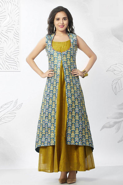 Lemon Green with Multicolor Printed Overcoat Anarkali Styled Long Kurti - 1