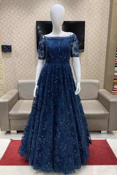 Peacock Blue Sequins and Mirrorwork Cocktail Gown - 1