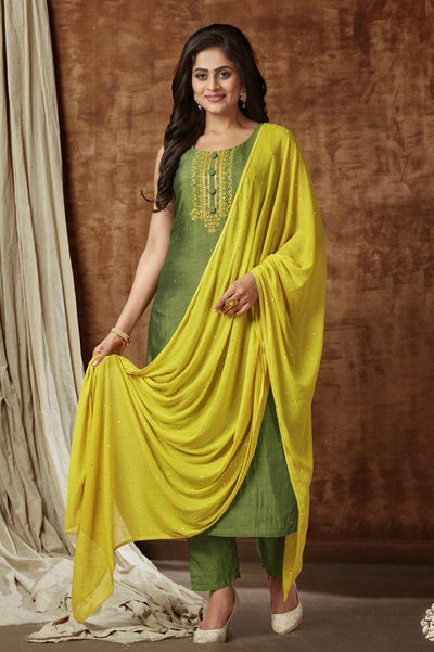 Mehendi Green Threadwork Art Silk Straight Cut Salwar Suit -1