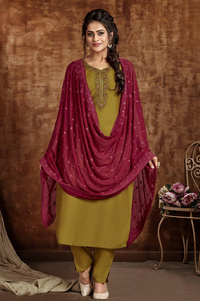 Dark Olive Green Threadwork Straight Cut Salwar Suit - 1