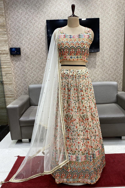 Cream Sequins and Multicolor Threadwork Crop Top Lehenga - 1