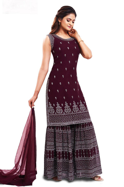 Wine Silver Threadwork Sharara Suit Set - SeasonsChennai