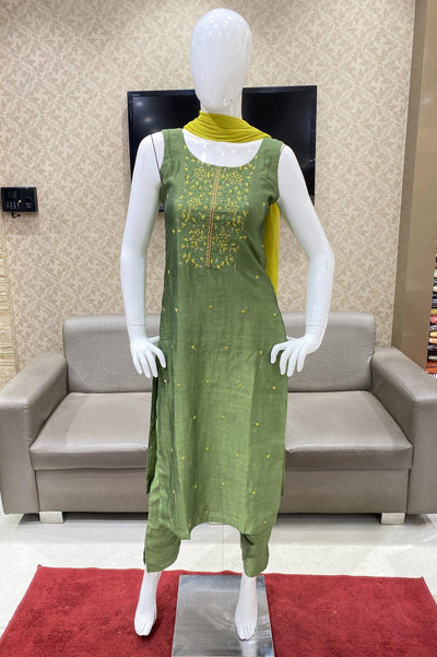 Leaf Green Art Silk Straight Cut Salwar Suit - 1