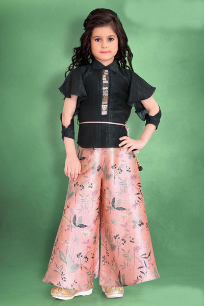 Grey and Peach Floral Print and Bead work Kurti Palazzo for Girls - 1