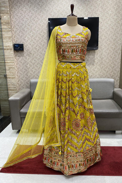 Yellow Sequins and Multicolor Threadwork Crop Top Lehenga - View 1