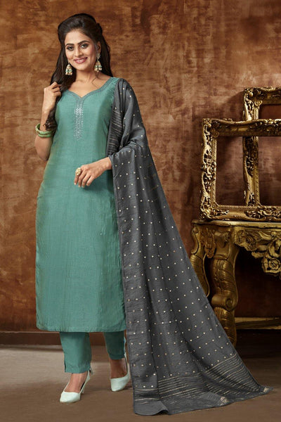 Teal Blue Silver Zari and Minimal Threadwork Art Silk Straight Cut Salwar Suit - 1