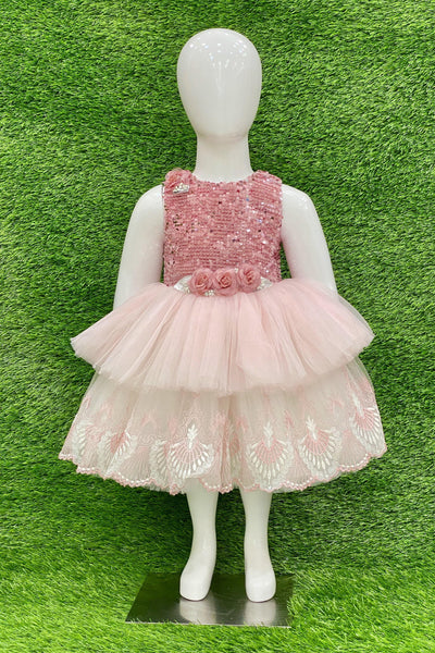 Pink Sequins Work Short Party Frock For Girls 1