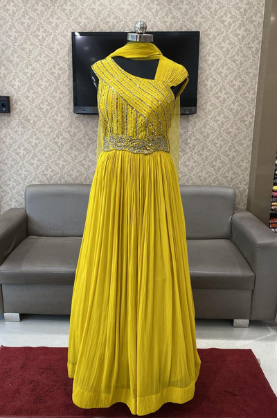 Mustard Yellow Mirror and Sequins work Floor Length Anarkali Suit - 1