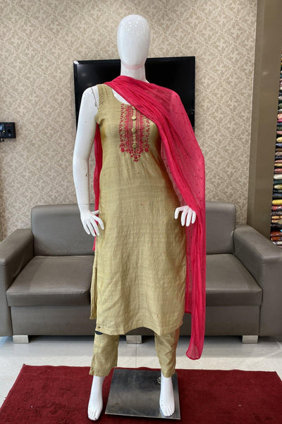 Golden Art Silk Straight Cut Salwar Suit - 1