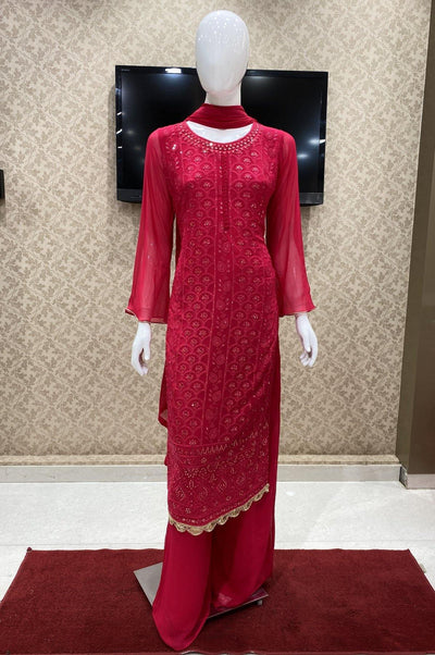 Pink Georgette Mirror and Threadwork Salwar Suit with Palazzo Pants - 1