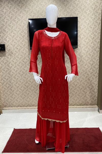 Red Georgette Mirror and Threadwork Salwar Suit with Palazzo Pants - 1