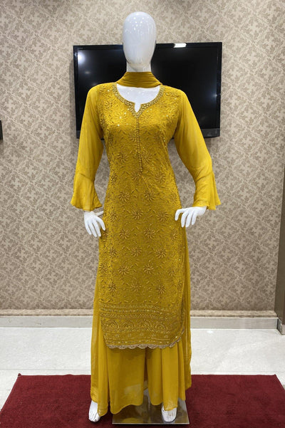 Mustard Georgette Mirror and Threadwork Salwar Suit with Palazzo Pants - 1