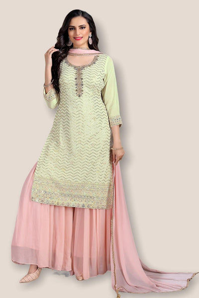 Light Green with Pink Threadwork Sharara Suit - 1