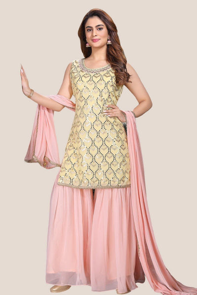 Yellow with Pink Thread and Sequins work Sharara Suit - 1