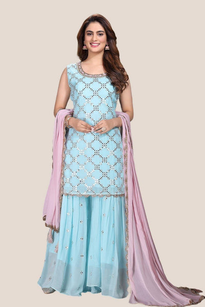 Sky Blue with Thread and Sequins work Sharara Suit - 1