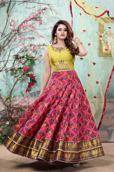 Olive Green and Pink Thread, Stonework, Patola Printed Anarkali Suit - View 1